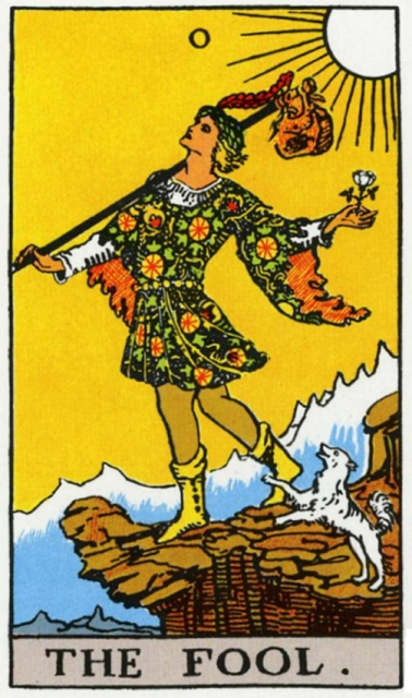 Pamela Colman Smith's illustration of the Fool Card for the Rider-Waite-Coleman tarot deck