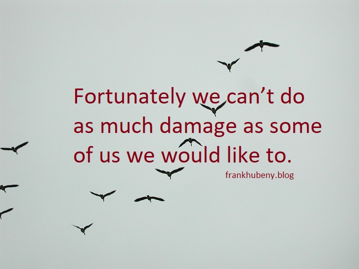 Fortunately we can't do as much damage as some of us would like to do.