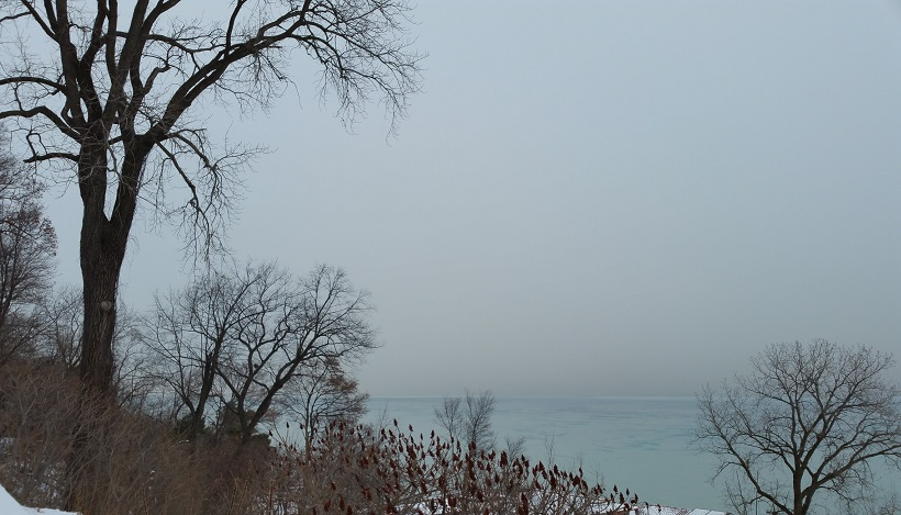 Lake Michigan and Overcast Winter Sky