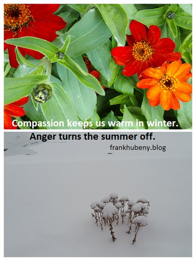 Compassion keeps us warm in winter. Anger turns the summer off.