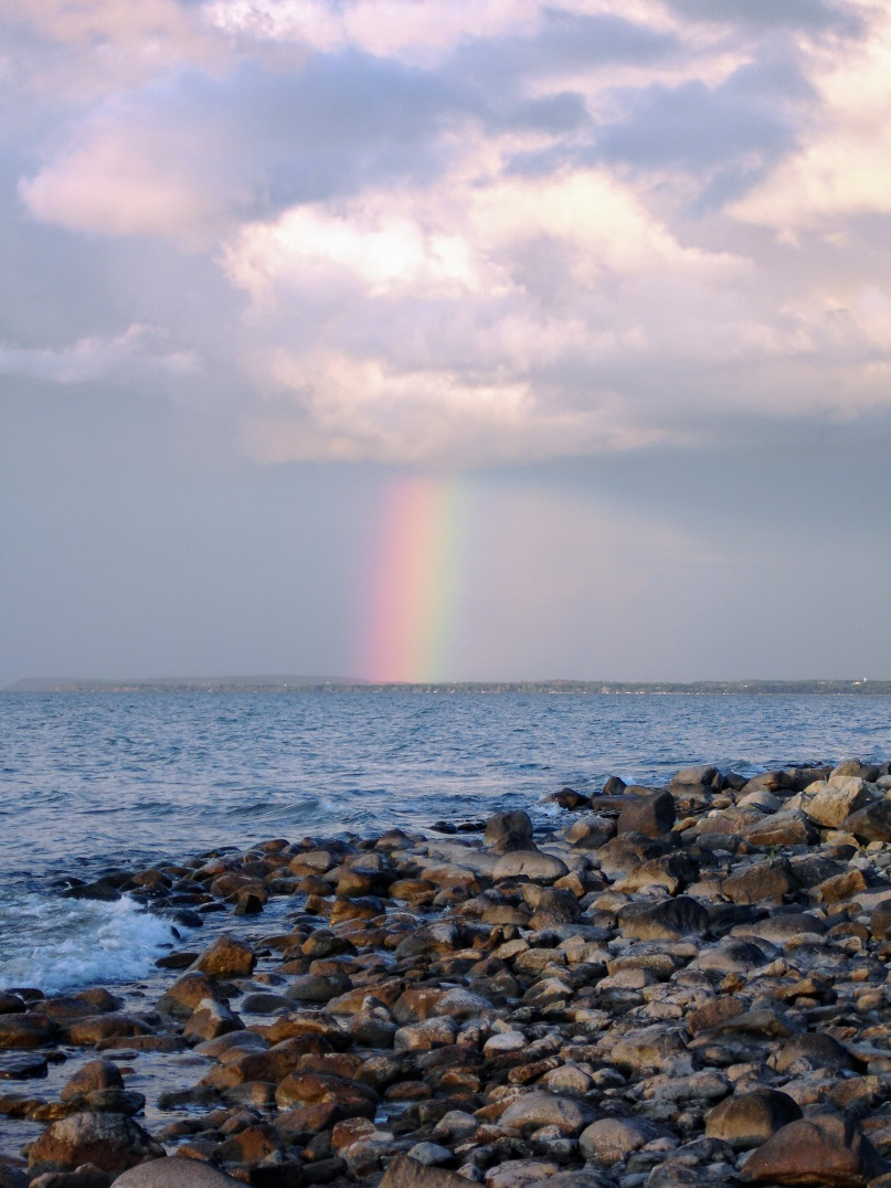 Shore, Clouds and Rainbow