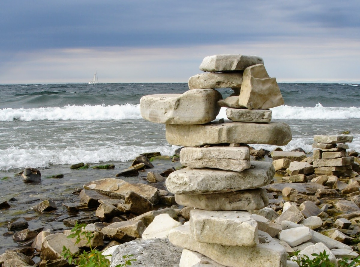 Stacked Stones on Green Bay